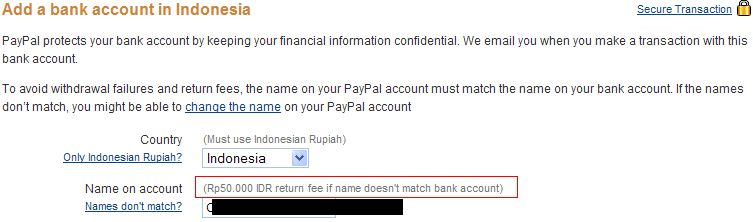 add bank account PP