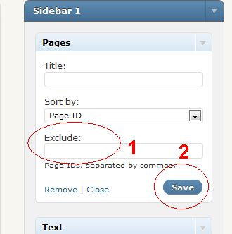 hide thanks page on sidebar